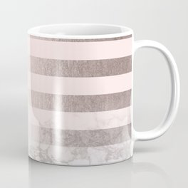Rose Gold Pink Stripes and Marble Design Coffee Mug