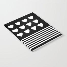 Heart Stripes White on Black Notebook