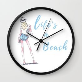 Life's A Beach Fashion Illustration Wall Clock