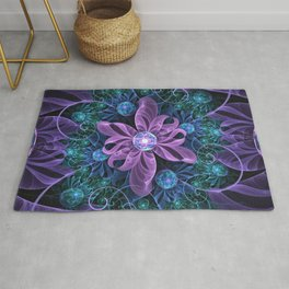 Bejeweled Butterfly Lily of Ultra-Violet Turquoise Rug