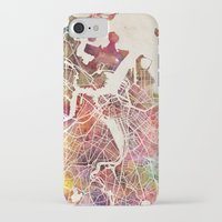 boston map iPhone & iPod Cases featuring Boston by MapMapMaps.Watercolors