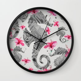 Seahorse Floral Landscape Print Wall Clock