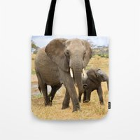 elephants Tote Bags featuring Elephants by go.designg