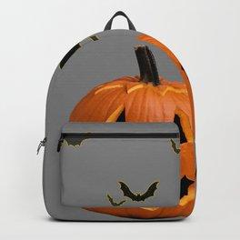 HALLOWEEN FLYING  BLACK BATS & CARVED PUMPKIN FACE Backpack