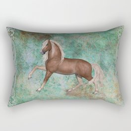 Horse On Green Brown Background With Border Rectangular Pillow