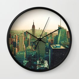New York City Colorful Skyline Wall Clock
