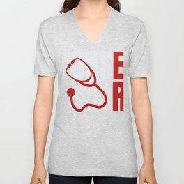 Registered Nurses Emergency Room Nurse Print Unisex V-Neck