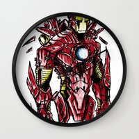 ironman Wall Clocks featuring Ironman by Dragon_xD
