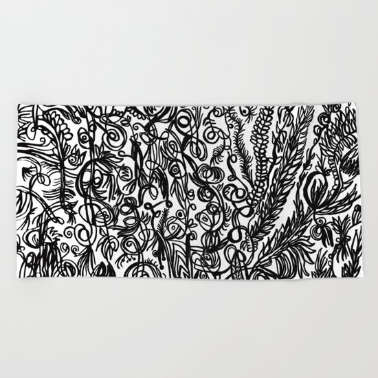 Black and White Beach Towel