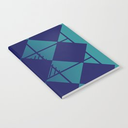 Blue,Diamond Shapes,Square Notebook