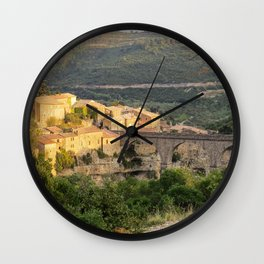 Panoramic view of the Village of Minerve in Languedoc France - Cathar Country Landscape Photography Wall Clock