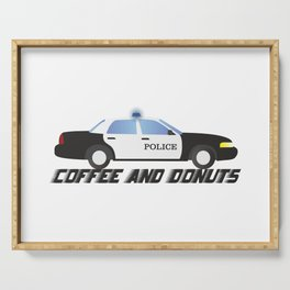 Police Car Patrol Officers Like Coffee and Donuts Serving Tray