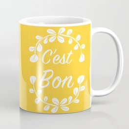 Inspirational Quote French Typography Print in Yellow Coffee Mug