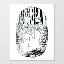 Three of Cups Skeleton Tarot Canvas Print