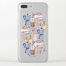 Coffee Love on Blue Clear iPhone Case