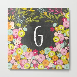 G botanical monogram. Letter initial with colorful flowers on a chalkboard background Metal Print