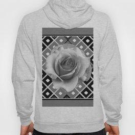 Art Deco White Rose Black-White-Grey Art Hoody