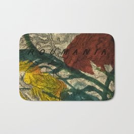 Vintage Made Modern: Transylvania Roumania Map Collaged with Flowers Bath Mat