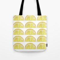 lemon Tote Bags featuring Lemon by krrstnn