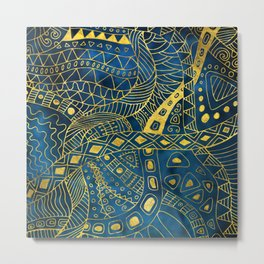 Tribal  Watercolor and Gold Pattern on blue Metal Print
