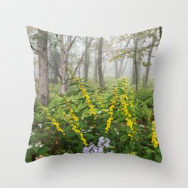 Smoky Mountain National Park -  Wildflower Foggy Forest Throw Pillow
