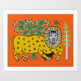Lion is playing with dog Art Print