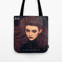 lorde Tote Bags featuring The Fire's Found A Home In Me by Helen Green