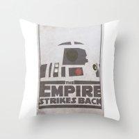 r2d2 Throw Pillows featuring R2D2 by David Landau