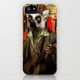 Lemur Busker in Paris iPhone Case