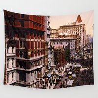 broadway Wall Tapestries featuring Vintage Broadway NYC Photo-Print (1900) by BravuraMedia