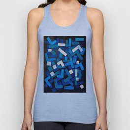"Original Abstract Acrylic Painting by Ejaaz Haniff ""Blue Jazz"" Blue Geometric Colorful Pattern On Bl Unisex Tank Top"