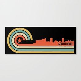 Retro South Bend Indiana Skyline Canvas Print