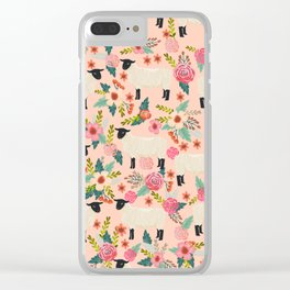 Sheep farm rescue sanctuary floral animal pattern nature lover vegan art Clear iPhone Case