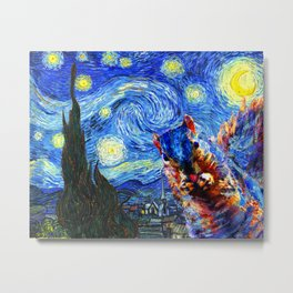 Starry Night Squirrel Photo Bomb Pop Art Metal Print