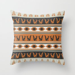 Foxes and ethnic shapes Throw Pillow