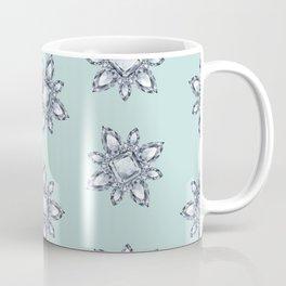 Jewelbox: Diamond Brooch Repeat in Eggshell Aqua Coffee Mug