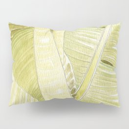 Banana Leaves Watercolor Pillow Sham