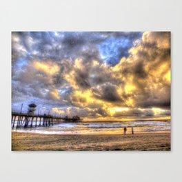 A Fire Sky Sunset * Huntington Beach Pier Canvas Print