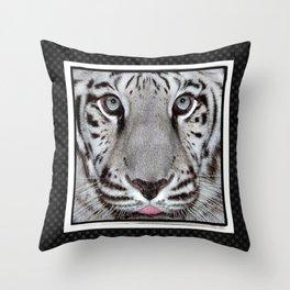 White Tiger with a little tougue Throw Pillow