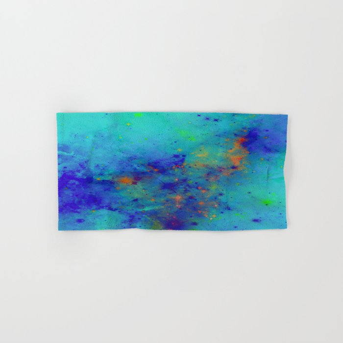 Blue Atmoshpere - Abstract in green, blue, orange and red Hand & Bath Towel