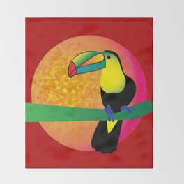 Toucan - Red Throw Blanket
