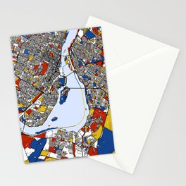 montreal map mondrian Stationery Cards