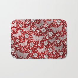silver, red,flowers, stars, butterfly, pattern, bright, shiny, elegant, color Bath Mat