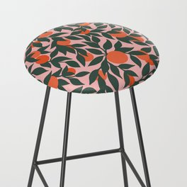 Oranges and Leaves Pattern - Pink Bar Stool
