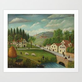Pastoral landscape with stream, fisherman and stroller Art Print