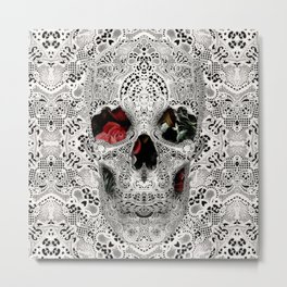 Lace Skull Light Metal Print