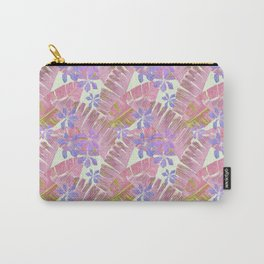 Pink tropical leaves and lilac flowers on white Carry-All Pouch