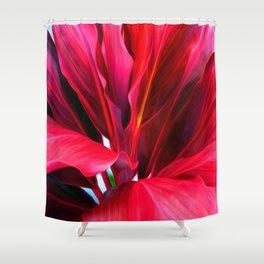 Red Ti Leaf Shower Curtain