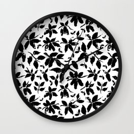 Abstract honeysuckle in black and white Wall Clock