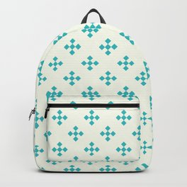 Retro Diamonds in Ocean Turquoise Blue & Warm White Backpack